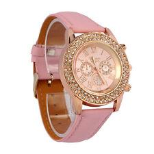 Women Crystal Dial Quartz Analog Leather Bracelet Wrist Watch Pink Gifts Lot