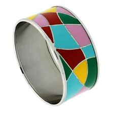 Stainless Steel Bangle Bracelet w/ Multi Color Enameled Abstract Pattern