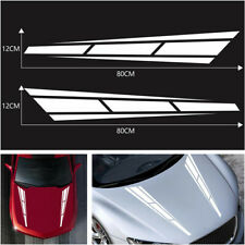 2x White Car Racing Sport Stripe Cover Vinyl Decal Graphic Truck Bonnet Stickers