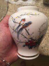 Vintage Narrow Oval Japan Fine China Jay Cherry Blossom Bird Vase 4� Tall