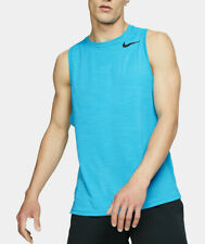 Nike Breathe Men's Aqua Blue Space Dye Crew-Neck Standard Fit Training Tank Top