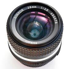 Nikon Nikkor 28mm f/2.8 AIS sp'r sh'p Mn'l Focus Lens. Near Mint. Tst'd see pics
