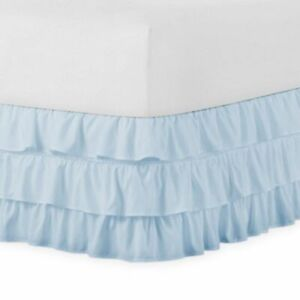 Cal-King 400TC Sateen Solid Cotton Ruffle Bed Skirt Light Blue