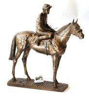 Horse and Jockey Bronze Resin Sculpture Racing gift