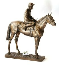Horse and Jockey Bronze Resin Sculpture Racing gift