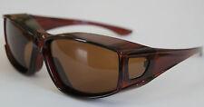 100%UV Polarized Sunglasses cover over prescription Glasses clear brown- size M
