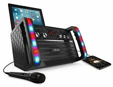 AKAI PORTABLE CDG KARAOKE PLAYER MACHINE SYSTEM with CRADLE LINE IN COLOR LIGHTS