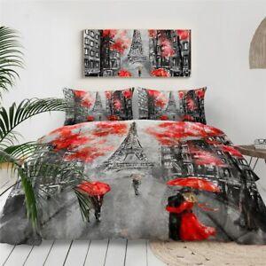 Red Umbrella Paris Eiffel Tower King Queen Twin Quilt Duvet Pillow Cover Bed Set