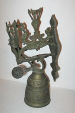 VINTAGE WALL MOUNT BRASS BELL WITH ANGEL, DRAGON & INSCRIPTION, MONASTERY CHURCH