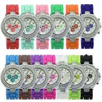 Geneva Silicone Crystal Quartz Ladies Women Jelly Dial Wrist Watch Fashion New