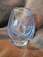 Scandanavian Orrefors Hand Blown Glass Etched Vase Blue Hummingbird CA