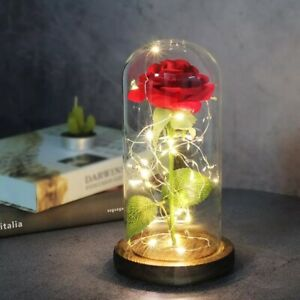 Artificial Eternal Rose  LED Light Beauty The Beast Glass Cover Christmas Gift
