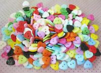 100pcs 10mm Heart Mixed Colors Resin Buttons Sewing /Scrapbooking O6B1