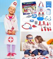 Xmas Kid Children Wooden Role Play Toy Game Doctor Dentist Nurse Set Medical Kit