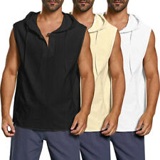 Men Cotton Linen Hoodie Pullover T Shirts Casual Sleeveless Top Blouse Loose Top