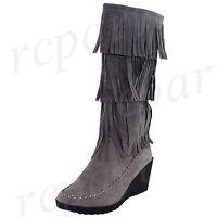 New women's shoes mid shaft boot fringe side zipper wedge suede like gray winter