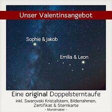 ♥ Zwei Sterne taufen - Doppelstern - Deluxe Paket Valentinsangebot ♥