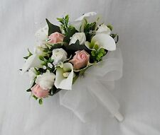 BRIDES POSY BOUQUET, CALA LILIES, IVORY, PEACH ROSES, ARTIFICIAL WEDDING FLOWERS