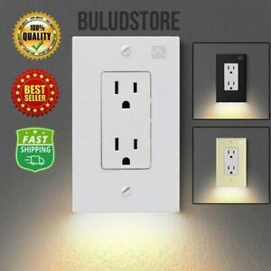 Outlet Wall Plate With Led Night Light Durable no Batteries/wires Free Shipping