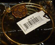 Bella Ryann Expandable Bracelet Skull and Cross Bones Gold Colored Charm       *