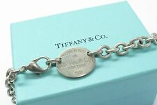 """Fine """" Tiffany & Co"""" Return To Tiffany Oval Tag Necklace Sterling Silver"""