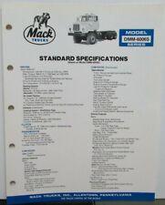 1985 Mack Trucks Model DMM 6006S Diagrams Dimensions Sales Brochure Original