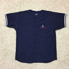 Mens 2XL NAUTICA Blue Shirt Jersey Button Front Short Sleeve Yachting Sailing