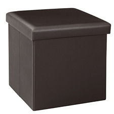 Bonlife Ottoman Footstool Bench with Storage Folding Faux Leather Storage Box