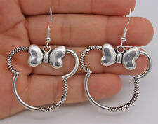 "925 Silver Plated Hook - 2.2"" Retro Hollow Mouse Top Bow-Knot Women Earrings #61"