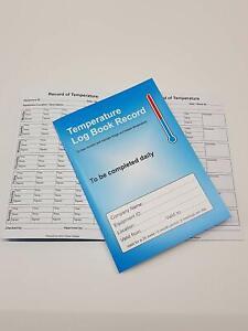 Food Temperature Log Book Record. Fridge and freezer temperature record log
