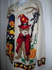 Crystal Kobe Halloween Cardigan Medium Ramie Cotton RN69377 Pumpkin Bear Corn