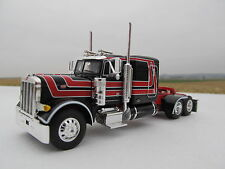 """DCP 1/64 SCALE PETERBILT 379 60"""" BUNK BLACK/RED STRIPES OUTLINED IN WHITE"""