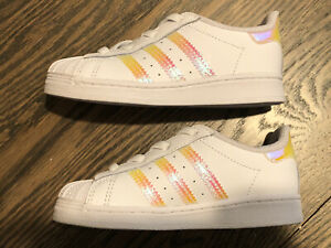NEW Adidas Superstar El Lace Up Toddler Sneaker White iridescent  Sz 8K 8C
