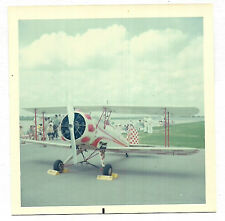 Square Vintage 70s PHOTO Small Airplane Plane On Ground w/ Red & White Design