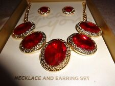 New w/ Tags Erica Lyons Red & Gold Necklace & Pierced Earrings Set