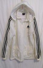 Vintage 1980's? Adidas White Fully Lined Zip up Windbreaker L Detachable Hood