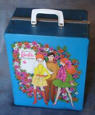 "Vintage 1969 Mattel ""The World Of Barbie"" Blue Doll Trunk W/ Dolls & Clothes!"