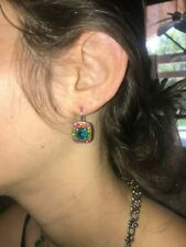 MARIANA  SWAROVSKI CRYSTAL EARING SILVER PL FANTASY RED/GREEN/BLUE/YELLOW/PURPLE