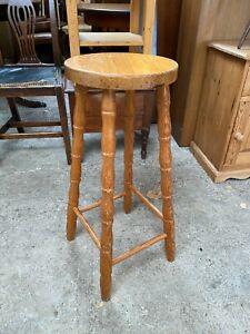 Solid Natural Pine Tall Stool Barstool