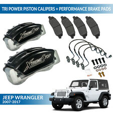 Jeep Wrangler 2000-2017 Brake Pads + Tri-Power Black Calipers - XtremeStop