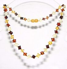 Baltic amber adult necklace, multi-color hedgehog beads  45 cm /17.72 inch