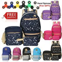 3PCS/Set Women Girl School Backpack Shoulder Bag Rucksack Canvas Travel Bags US