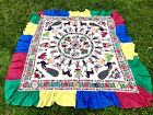 Antique Vintage Elaborate Embroidered Canopy Cover Indian Gujarat Bright Colors!