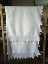 More details for  antique victorian white cotton bolster cover with large cotton filet lace edges