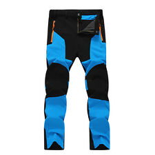 Mens Outdoor Hiking Ski Pants Fleece Padded Winter Windproof Waterproof Trousers