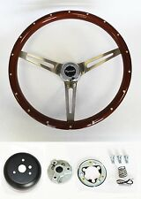 "70's Fury Scamp Duster Cuda GTX RR Wood Steering wheel w/ Rivets 15"" High Gloss"