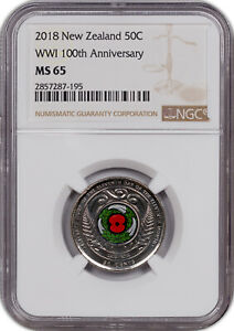 2018 NEW ZEALAND 50 CENTS WW1 100TH ANNIV COLORIZED NGC MS 65 HIGH GRADE