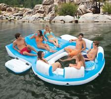 7-Person Inflatable Lake Party Relaxation Island Raft Lounger Backrests Cooler