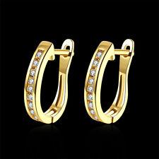 18K 18CT Yellow/Rose Gold Filled GF Round Hoop Woman Wedding Earrings E558