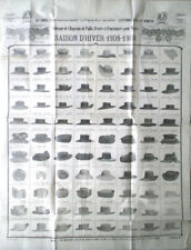 PAPIER DE SOIE ANCIEN PUB CHAPEAUX 1908/09 LA MODE DES DEUX SPÉCIALITÉS